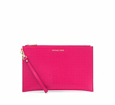 6ea4f5ccec1b MICHAEL Michael Kors Jet Set Extra-Large Perforated Leather Clutch in Ultra  Pink  Handbags  Amazon.com