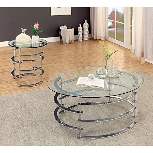 Furniture of America Odella Contemporary 2-piece Glam Glass Top Accent Table Set Gold Gold Finish by Furniture of America (Image #1)