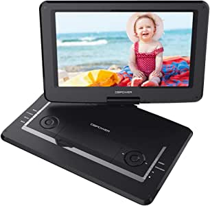 """DBPOWER 17.9"""" Portable DVD Player with 15.6"""" Large Swivel Screen, Rechargeable Battery, Supports SD Card and USB, with 1.8M Car Charger and 1.8M Power Adaptor (Black)"""