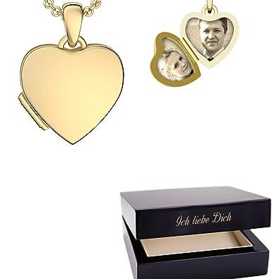 Foto Medaillon Herz Gold hochwertig vergoldet Herzkette Herz ...
