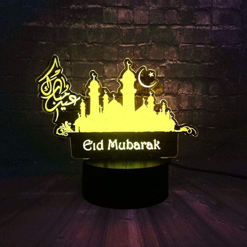 Luces nocturnas 3D Led Creencia Eid Mubarak Ramadan Kareem Eid Al-Fitr Escritorio para el hogar 7 colores USB Cambiar decoración Luz nocturna Regalo de vacaciones amigo