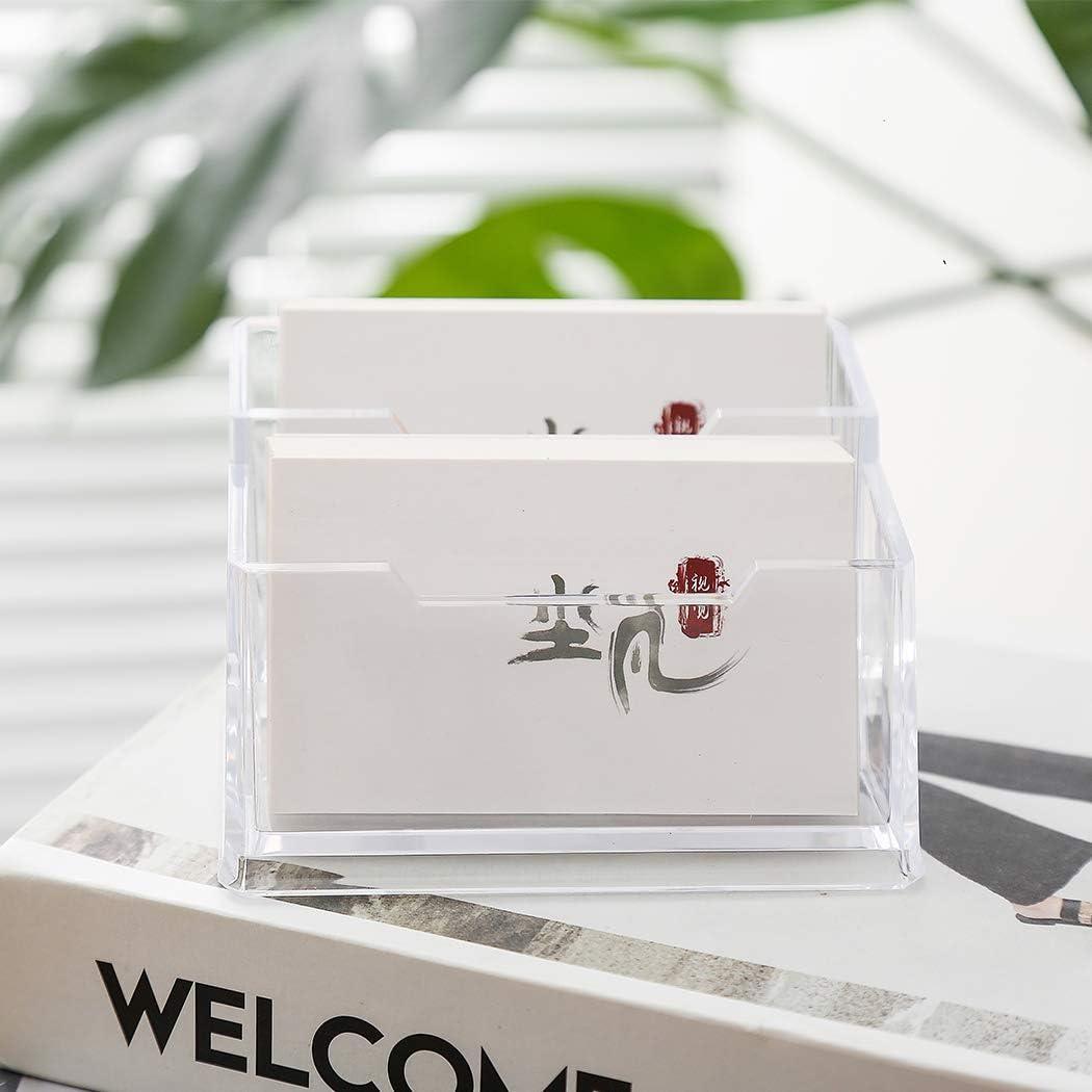 Digead Business Card Holders, Acrylic Card Display Desk Stand Holder, Transparent Business Card Holder for Desk - 2Grids