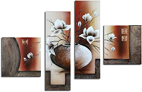 Noah Art-Contemporary Flower Art, White Tulip in a Vase Flower Pictures 100 Hand Painted Abstract Oil Painting of Flowers on Canvas Wall Art, 4 Panel Framed Floral Artwork for Bedroom Wall Decoration