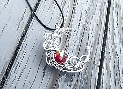 Silver Crescent Moon Necklace- with red crystal centerpiece - Moon Pendant - Wicca Pendant - Sailor Moon (Magical Crescent Moon Necklace)