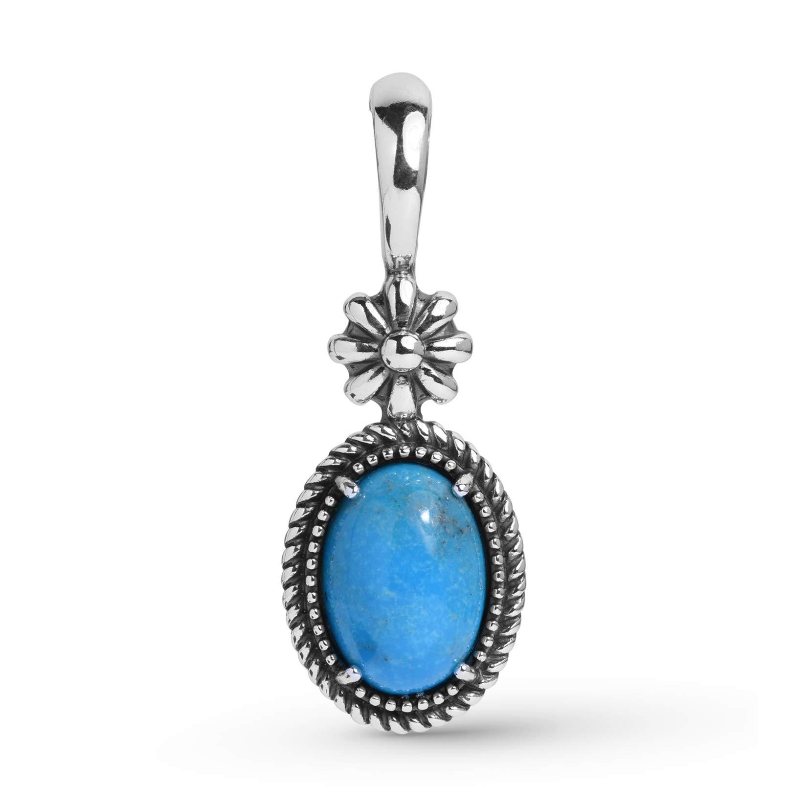 925 Sterling Silver Blue Turquoise Gemstone Native Flower Pendant Enhancer