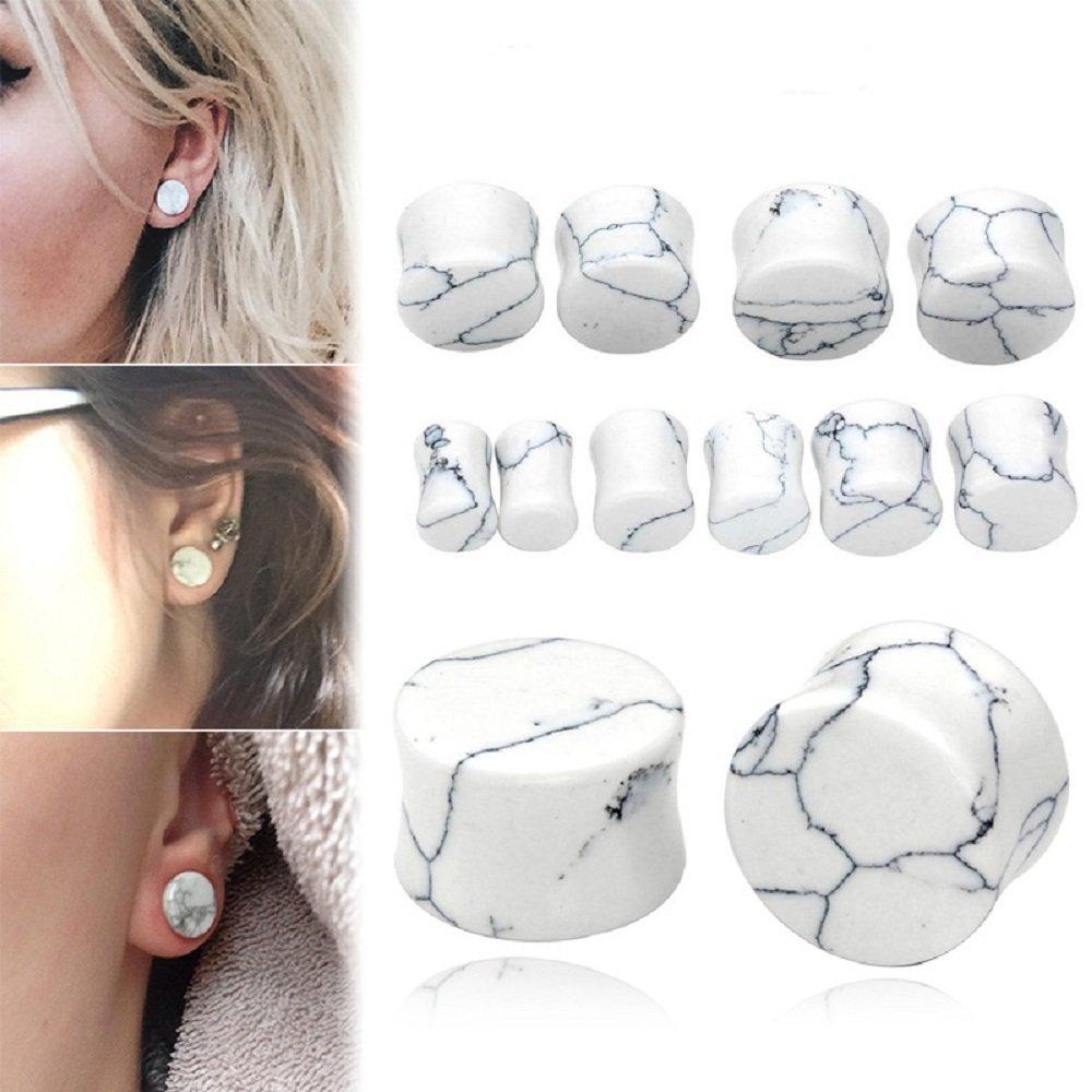 Kokoma 2 Pairs White Howlite Organic Stone /& Amethyst Ear Plugs Gauges Double Flared Flesh Tunnels Body Piercing