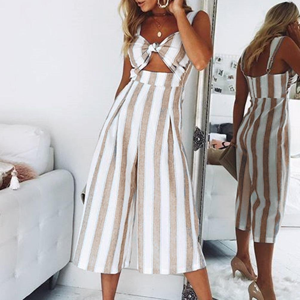 Fashion Stripe Strap Playsuit Trousers Casual Beach Jumpsuit for Women Palarn 2018 Jumpsuits