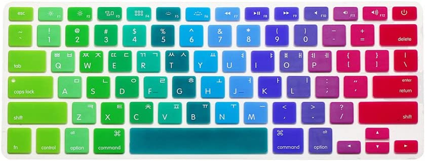 HRH Korean Silicone Keyboard Cover Skin for MacBook Air 13,MacBook Pro 13/15/17 (with or w/Out Retina Display, 2015 or Older Version)&Older iMac USA Layout Keyboard Protector-Rainbow