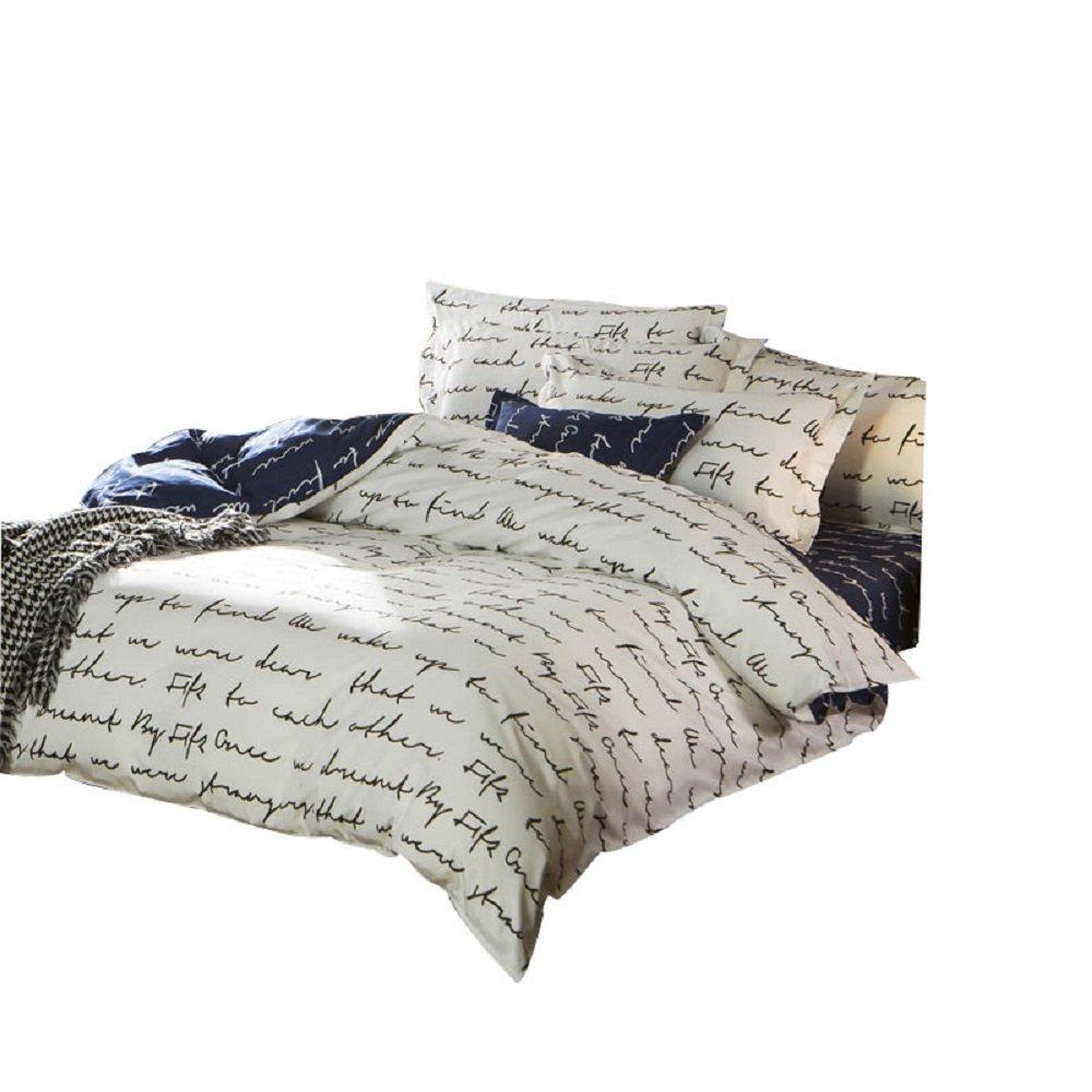Love Letter Pattern Duvet Cover Set Polyester Bedding Set