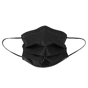 Global Glove Lightweight Face Mask, Black, Disposable, Food Contact Compliant, Polypropylene NW-M2-FDA, regular