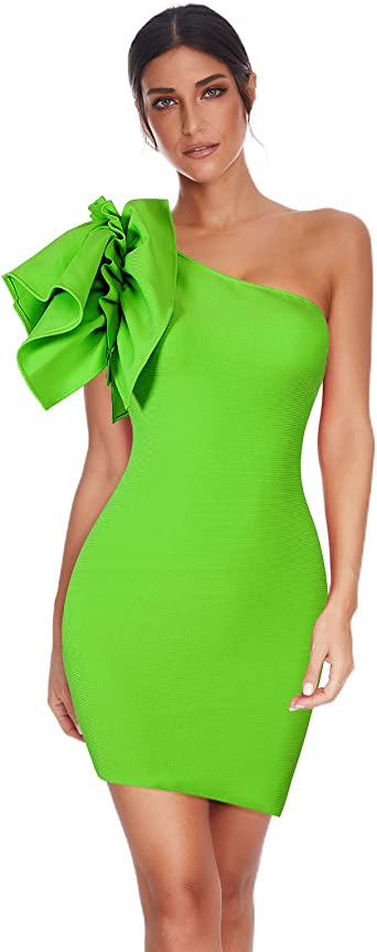 Meilun Womens One Shoulder Bodycon Bandage Club Party Dress