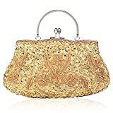 SSMY Beaded Sequin Design Flower Evening Purse Large Clutch Bag (Gold)