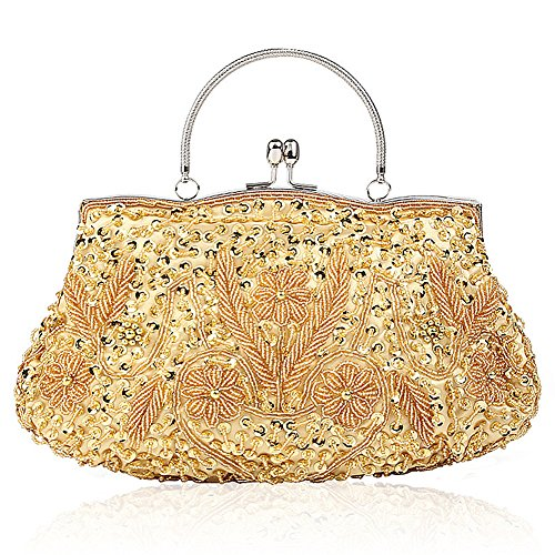 SSMY Beaded Sequin Design Flower Evening Purse Large Clutch Bag (Gold) -