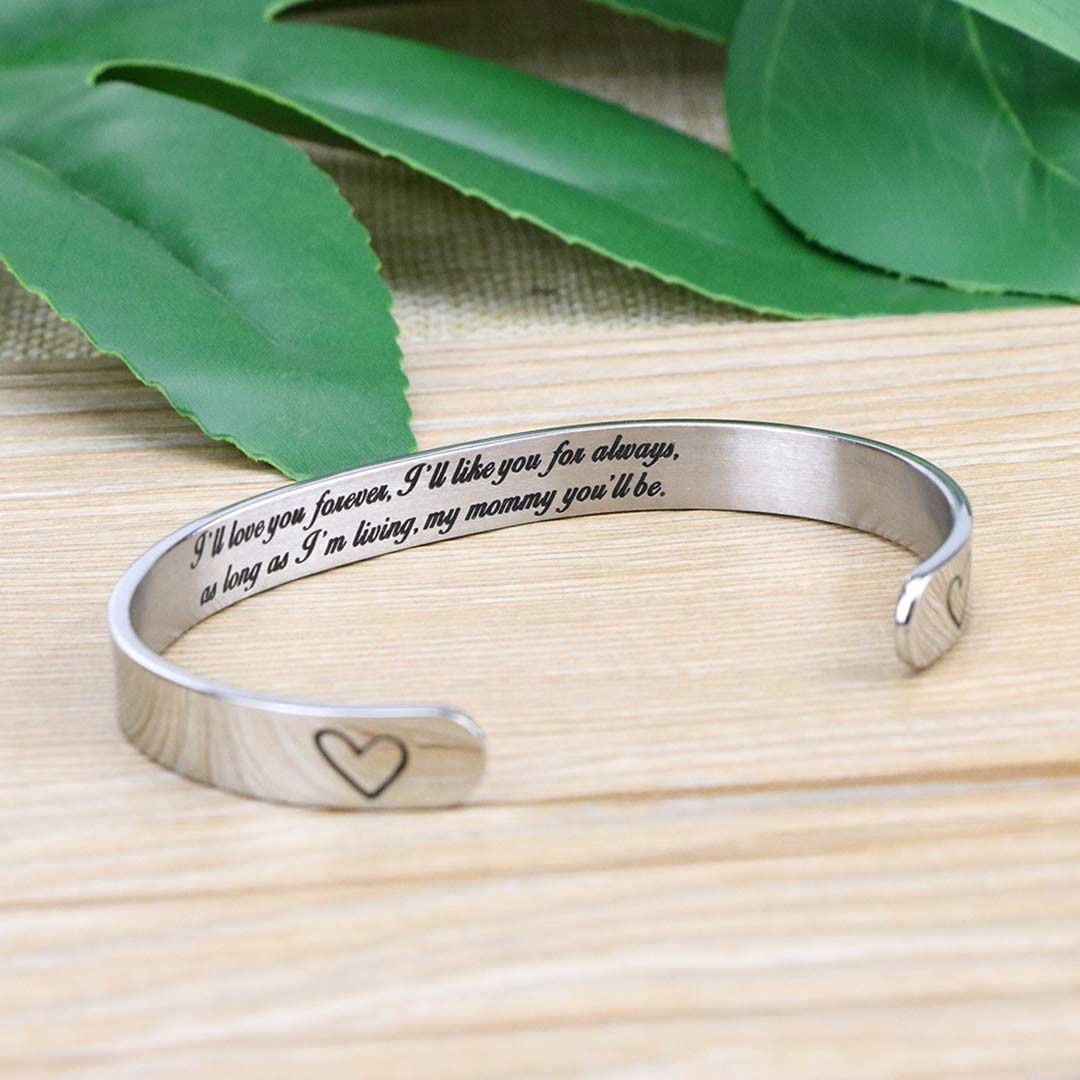 MEMGIFT Mothers Day Cuff Bracelet Engravable Stainless Steel Gifts Jewelry for Mom Mother Mum Mama