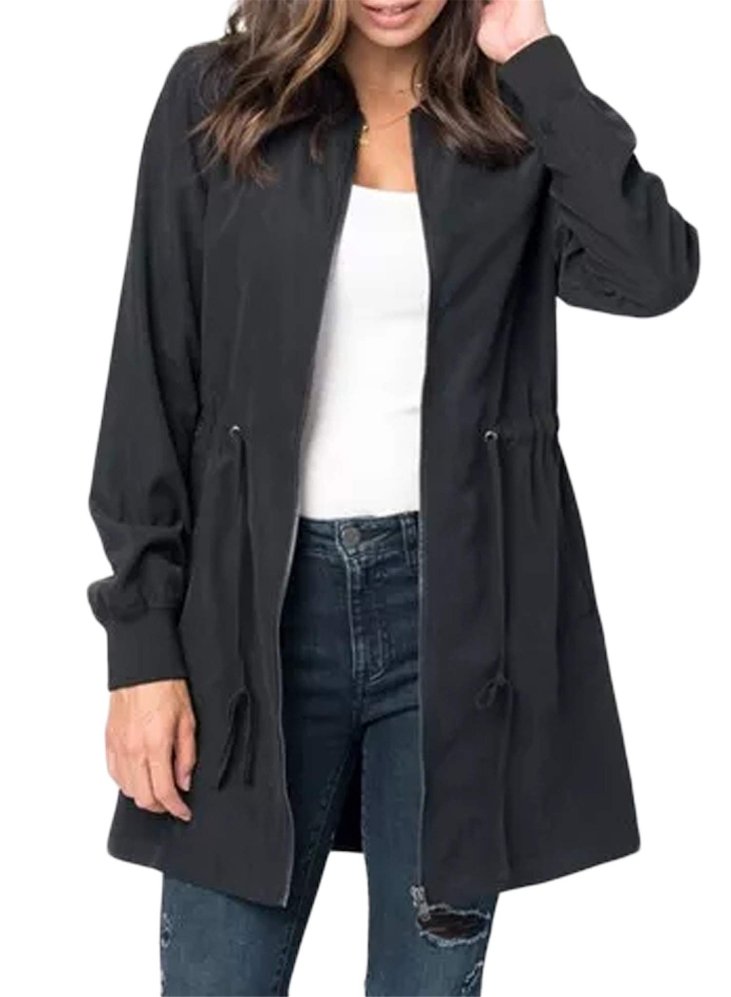 Blibea Womens Fall Jackets Casual Long Zipper Suede Lightweight Coat Outwear Windbreaker Medium Black