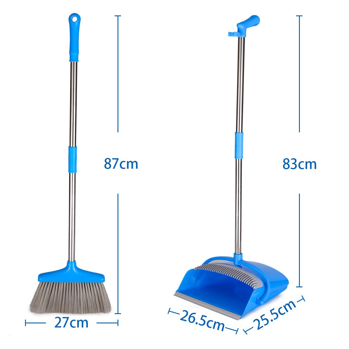 Balai ramasse poussiere Kit balai Set balayette 2 pcs y compris 1 pelle pliable 1 balai avec manche en acier inoxydable /économie espace Bleu Balai et Pelle EFANTUR Pelle balayette