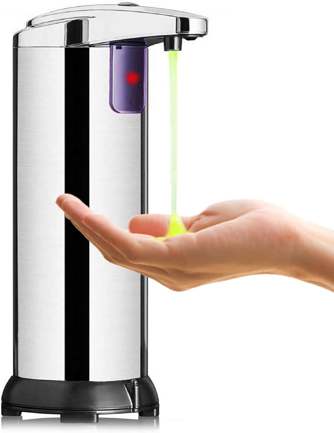 KIPIDA Dispensador Automático de Jabón,Contacto Dispensador de por Infrarrojos de Jabón con Acero Inoxidable,Manos Libres Dispensadores de Loción 250ML Ajustable Cocina Baño Oficina