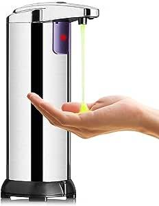 KIPIDA Dispensador Automático de Jabón, Contacto Dispensador de por Infrarrojos de Jabón con Acero Inoxidable, Manos Libres Dispensadores de Loción 250ML Ajustable para Cocina Baño y Oficina