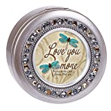 Cottage Garden Love You More Dragonfly Philippians 4:4 Jeweled Pewter Colored Round Music Box Plays Amazing Grace