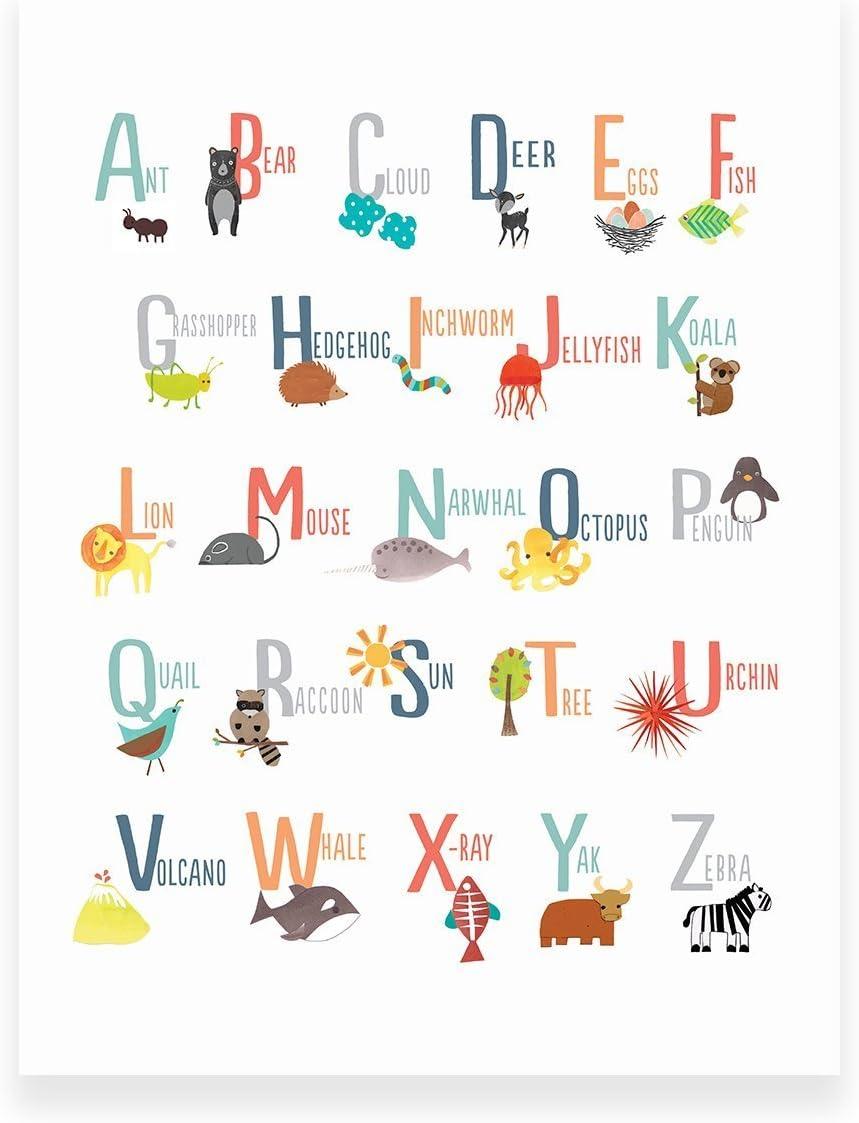 Educational Art Animal Alphabet Print ABC Poster ABC Print Alphabet Picture