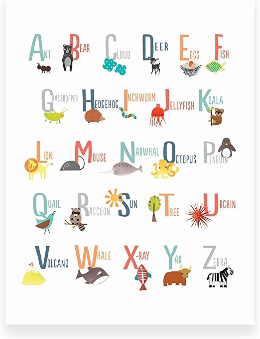 Animal Alphabet Poster Type 1 ABC Nursery Baby Kids Children Print UNFRAMED