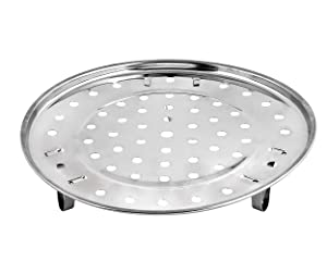 Ace Select Steam Tray Round 8.5 Inches Steamer Rack with Removable Legs - Stainless Steel Chinese Steaming Rack for Instant Pot Pressure Cooker -Instant Pot Accessories Multi-functional Steamer Basket