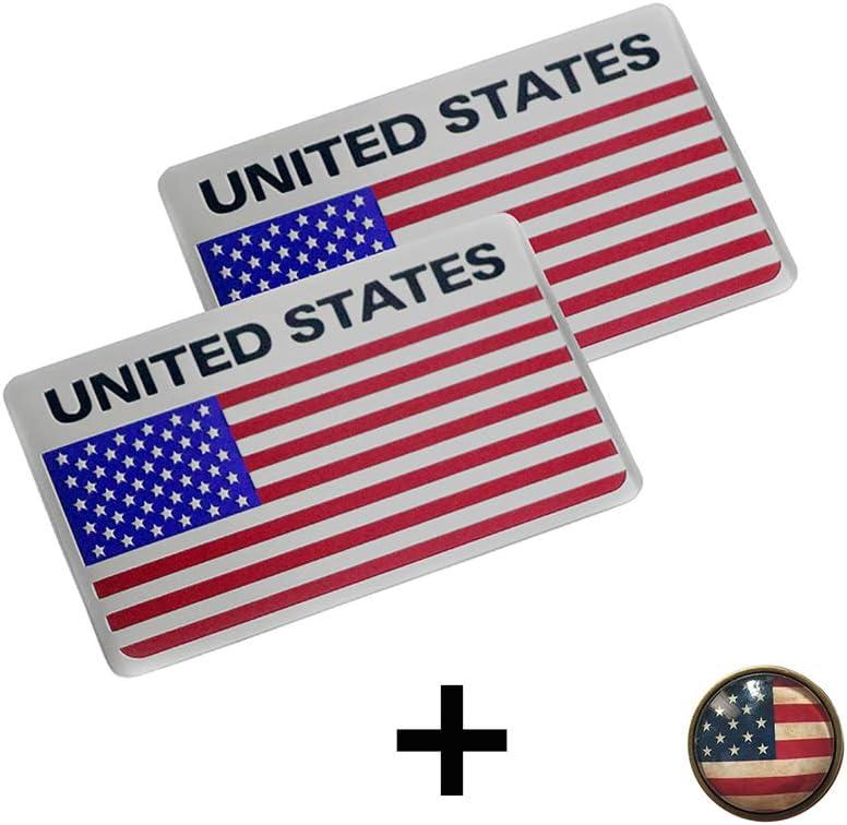 Pt Decors 2 Piece Usa United States Badge Aluminium Metal Graphic Sticker Car Emblem Sticker Auto