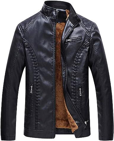 Homebaby Invernale Giacca in Ecopelle Uomo Taglie Forti Elegante Classico Motociclista Biker Caldo Cappotto Lungo Felpa Casual Tops Spessa Outwear