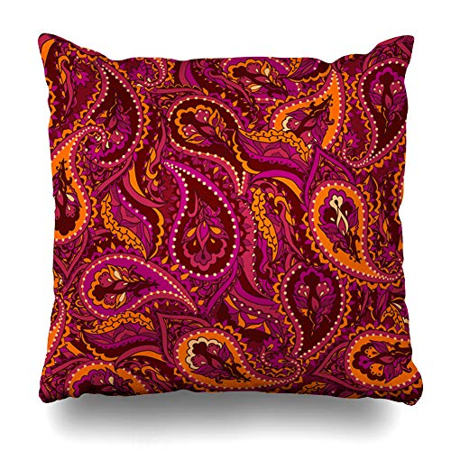 Ahawoso Throw Pillow Cover Paisley Orange Floral Indian Pattern Abstract Pink Ethnic Arabesque Arabic Asian Color Design Home Decor Pillowcase Square Size 20 x 20 Inches Zippered Cushion Case ()