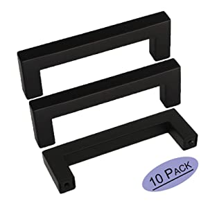 10Pack Black Square Bar Cabinet Pull Drawer Handle Goldenwarm Stainless Steel Modern Hardware for Kitchen and Bathroom Cabinets Cupboards,Center to Center 3-3/4in (96mm) Kitchen Pulls for Cabinets