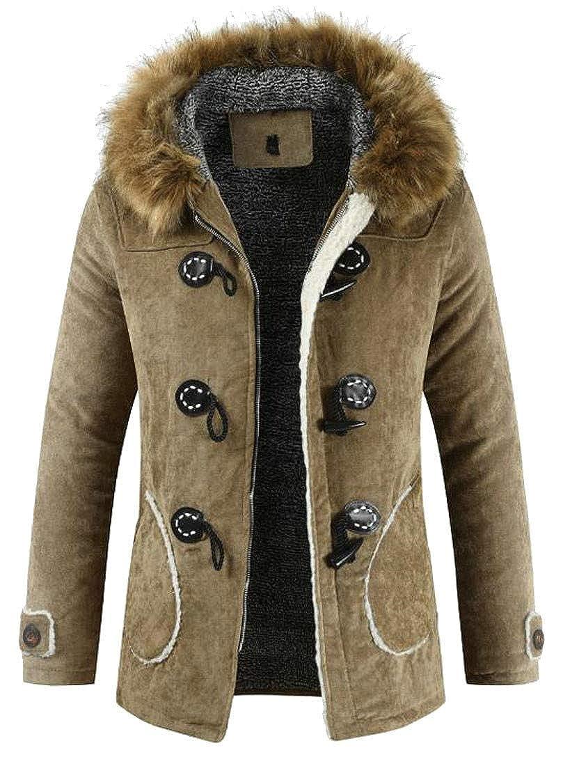 Pandapang Mens Winter Warm Toggle Faux Fur Hooded Fleece Parka Coat Jacket