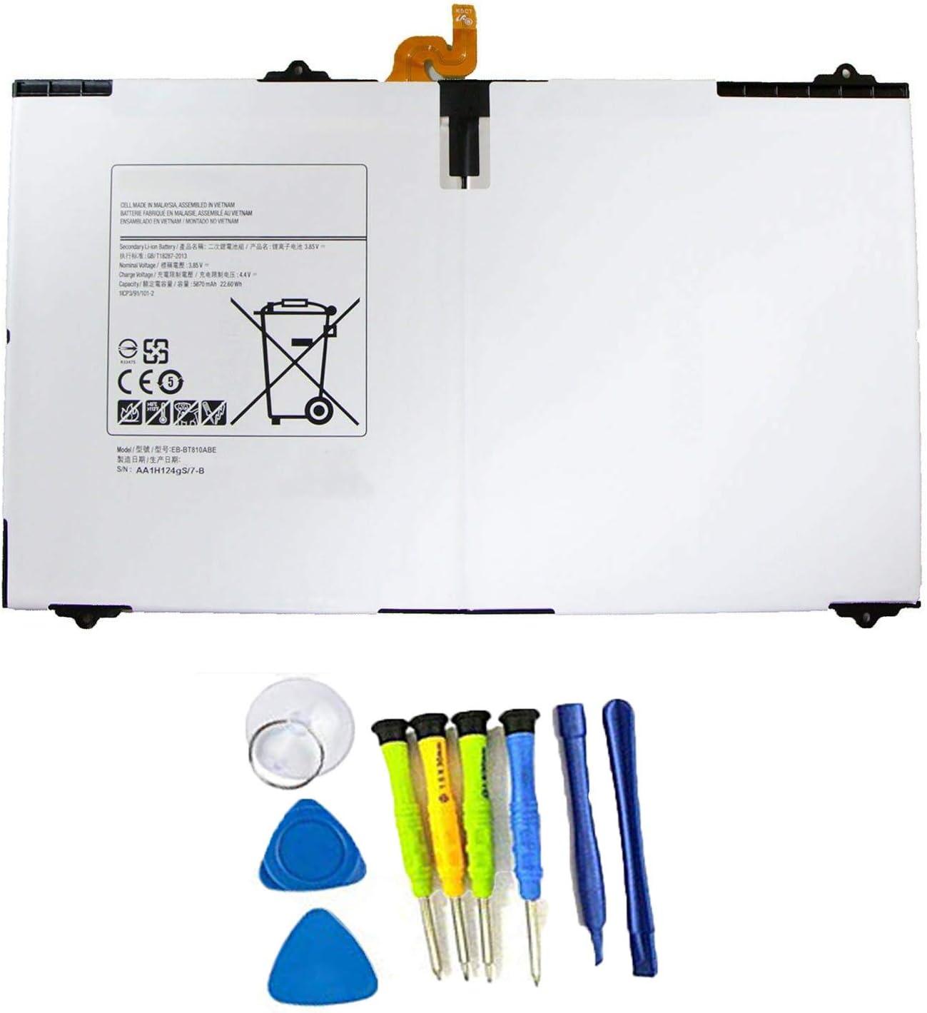 SUNNEAR EB-BT810ABE 5870mAh Tablet Battery for Samsung Galaxy Tab S2 9.7'' SM-T810 T810X T813 T815 T815C T815X T815Y T817 T817A T817W T817T T817P T817X T818 T819 Series Tablet with Tools EB-BT810ABA