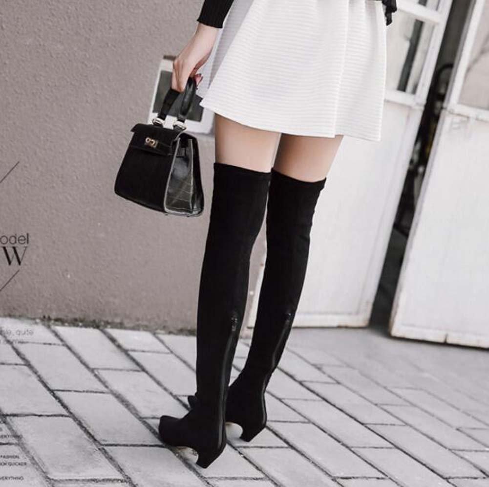 Oberschenkel Hohe Stiefel 4,5 cm Kätzchen Heel Ofenrohr Ofenrohr Heel Stretch Stiefel Kleid Stiefel Ritter Stiefel Frauen Hübscher Spitz Zipper Leggings Stiefel Eu Größe 35-40 schwarz a9d6a9