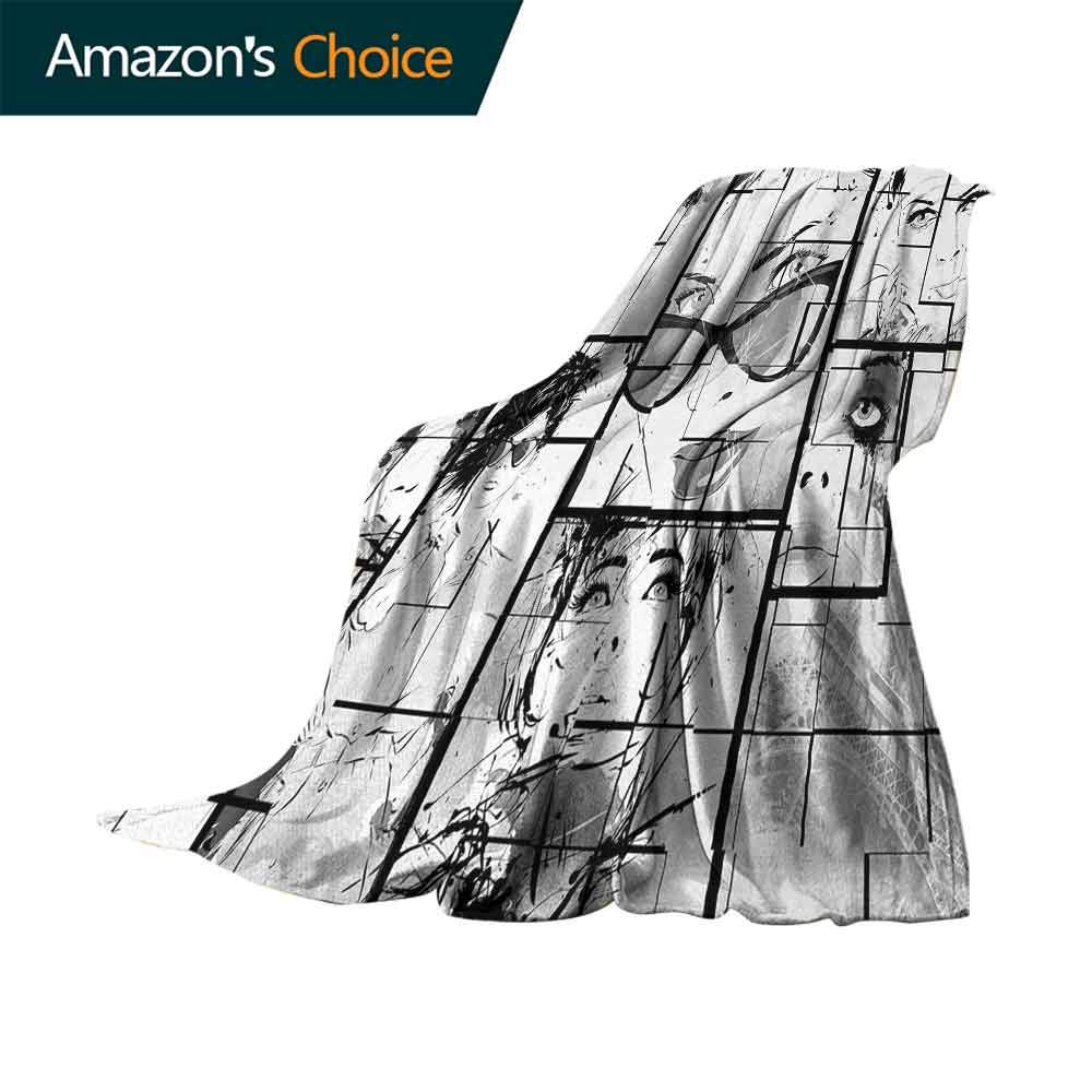 Eiffel Tower Picnic Blanket,Women Faces with Different Eye Makeup Eiffel Tower Romance Paris Image Colorful   Home Couch Outdoor Travel Use (80''x60'')-Black White Grey