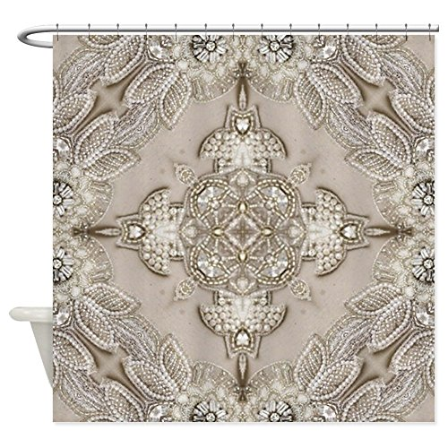 - CafePress - Glamorous Girly Rhinestone Lace Pea - Decorative Fabric Shower Curtain (69
