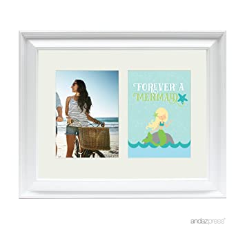 Amazon.com: Andaz Press Double White 5x7-inch Photo Frame, Forever a ...