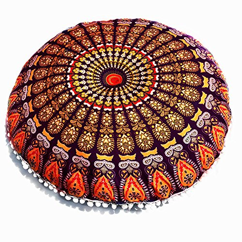Gocheaper Home Decoration,Large Mandala Floor Pillows Round Bohemian Meditation Cushion Cover Ottoman Pouf 8080cm(H)