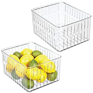 mDesign Plastic Kitchen Refrigerator Produce Storage Organizer Bin with Open Vents for Air Circulation - Food Container for Fruit, Vegetables, Lettuce, Cheese, Fresh Herbs, Snacks - XL, 2 Pack - Clear