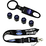 New 1pcs Ford Keychain Lanyard Badge Holder + Combo Set With 4pcs Car Tire Valve Stem Air Caps Cover and Keychain Ford Blue