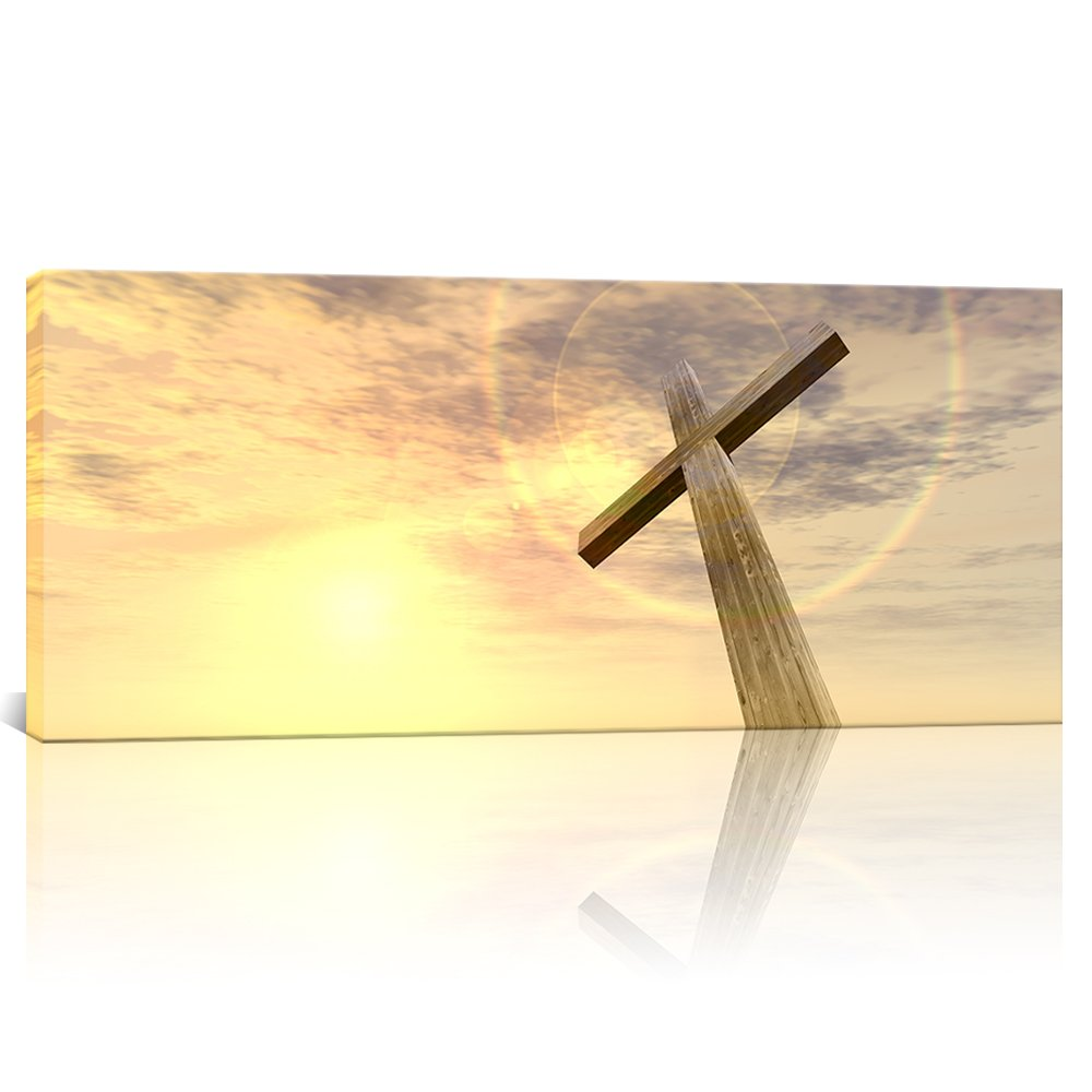 Amazon.com: Large Canvas Painting Low Angle Holy Christian Cross ...