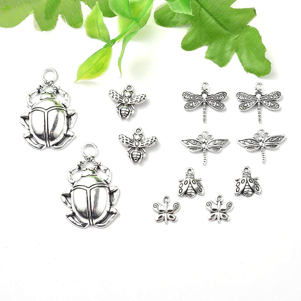 Craftdady 24Pcs Antique Silver Mixed Animal Pendants Tibetan Kangaroo Koala Elephant Monkey Rhinoceros Charms 12-30x13-40mm for Jewelry Making Lead Free