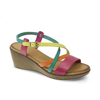 7abb12006 Lunar Amaris Multi-Coloured Leather Wedge Sandal 4 Multi  Amazon.co ...
