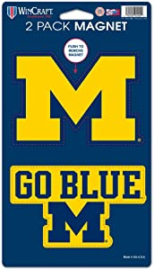 "WinCraft NCAA University of Michigan WCR29044014 Magnets (2 Pack), 5"" x 9"""