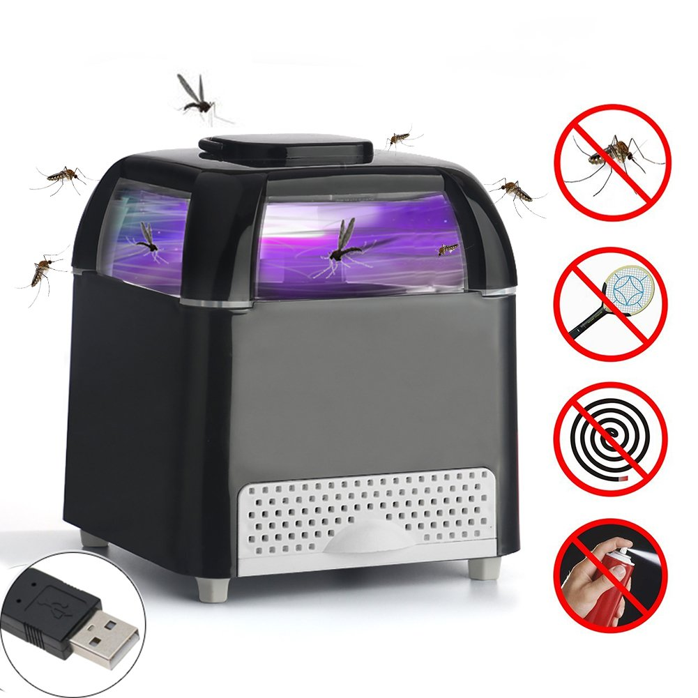 Jane Choi Bug Zapper, Electronic Mosquito Repellent Insect Killer LED Indoor Mosquitoes Fly Trap Pest Catcher for Home Kitchen Outdoor Garden Patio Yard (Black Square)
