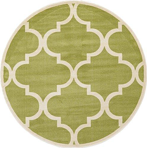 - Unique Loom Trellis Collection Moroccan Lattice Green Round Rug (8' 0 x 8' 0)