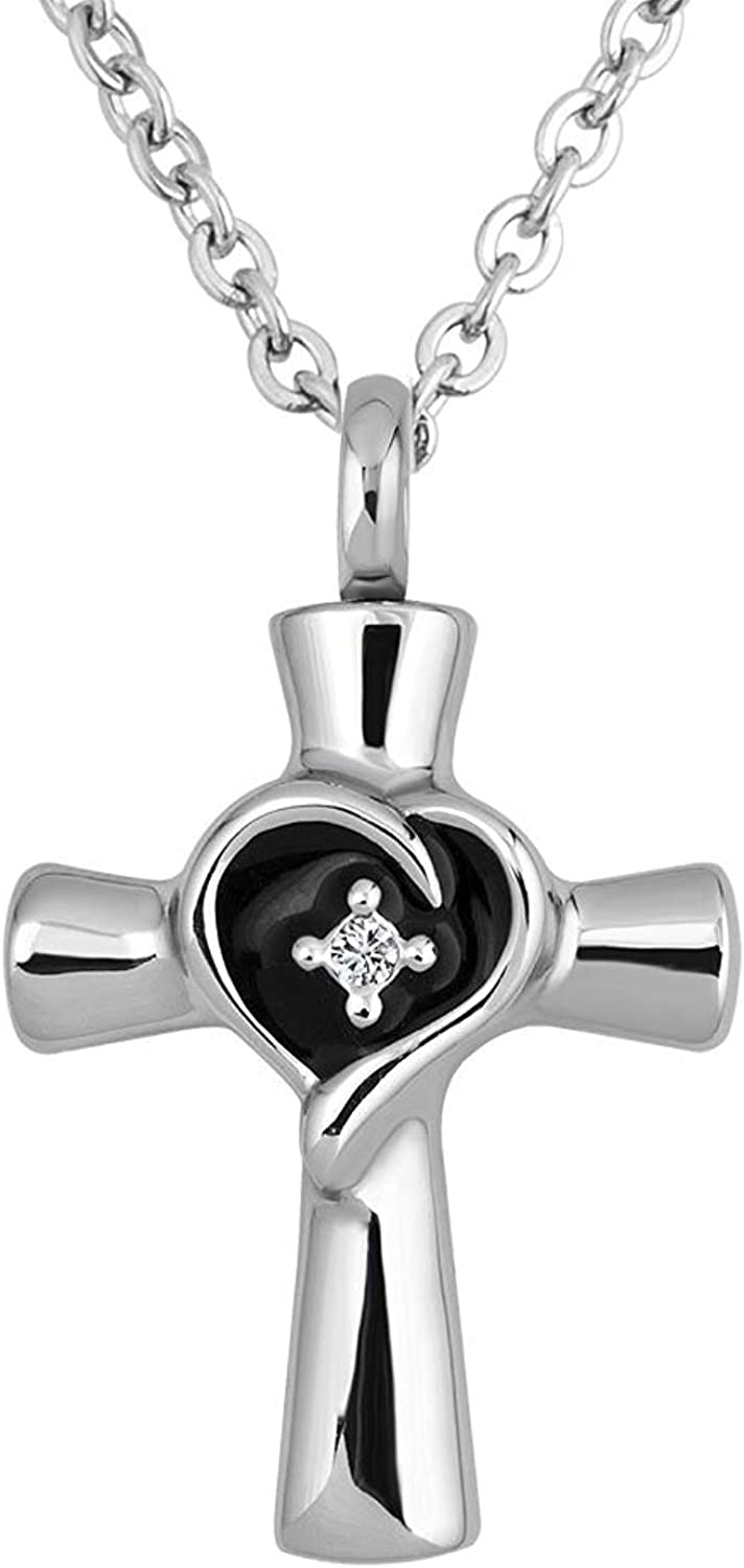 Norya Cremation Jewelry Cross Urn Necklace for Ashes Stainless Steel Memorial Pendant