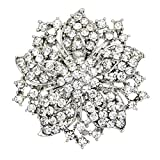 Danbihuabi Silver/gold Plated Vintage Crystal Rhinestone Brooch Pin 7 Colors (silver plated white)