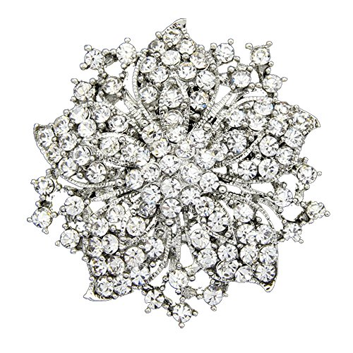 (Danbihuabi Silver/gold Plated Vintage Crystal Rhinestone Brooch Pin 7 Colors (silver plated white))