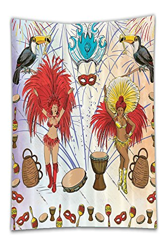 Brazilian Samba Carnival Costumes (Beshowereb Fleece Throw Blanket Brazilian Carnival Costumein Rio Samba Dance Decor Bathroom DecorationDrumand Key Holder PalmParty MaskGiftfor Dancer Women Men with Free HookSet Red Yellow Blue.jpg)