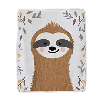 Amazon.com  Cute Sloth Throw Blanket for Bed Couch Chair Sofa Velvet ... 49b8078a4b